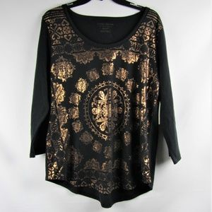 Lucky Brand Black Copper Long Sleeve Casual Top XL
